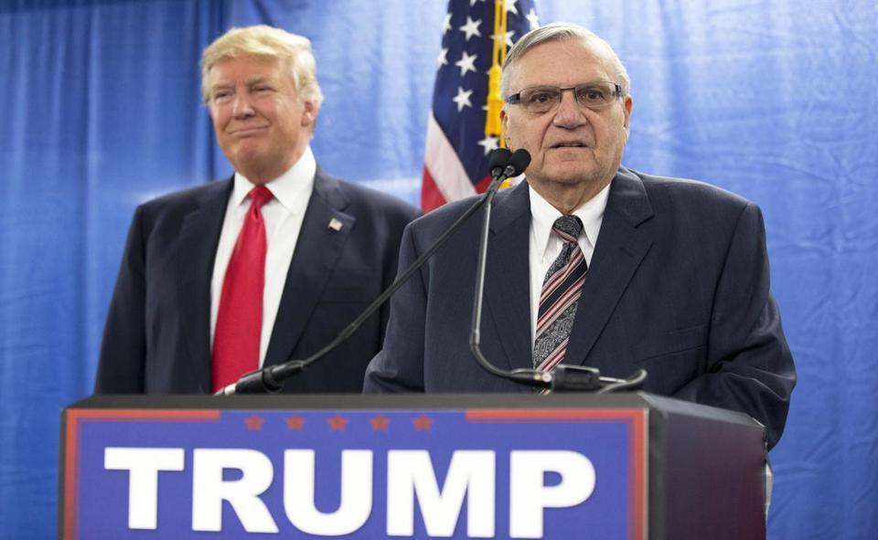 Trump appeared with Joe Arpaio, the then-sheriff of metro Phoenix, at a news conference last year.